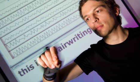 "A new, special glove system will allow users to write in the air. The method is appropriately named ""air-writing""/PHOTO VIA discoverynews.com"