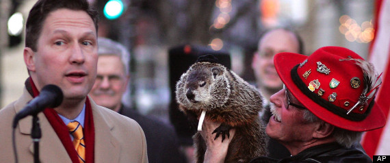 Punxsutawney Phil 'predicts' the end of winter in this photo from the spring of 2012/ PHOTO VIA www.huffingtonpost.com